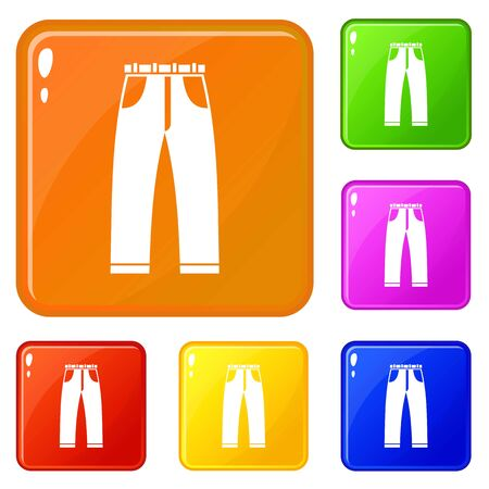 Jeans icons set vector color