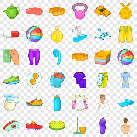 Fitness equipment icons set, cartoon style Stock Illustratie