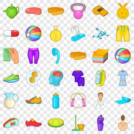 Fitness equipment icons set, cartoon style Illustration