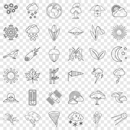 Weather forecast icons set, outline style