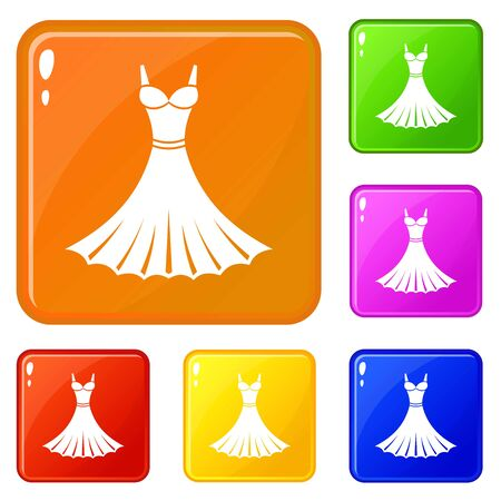 Dress icons set vector color  イラスト・ベクター素材