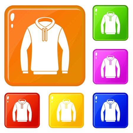 Hoodie icons set vector color