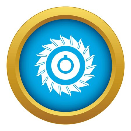 Circular saw disk icon blue vector isolated