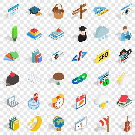 Planning icons set. Isometric style of 36 planning vector icons for web for any design