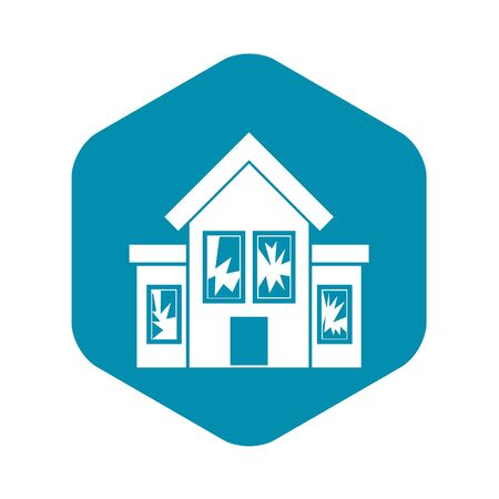 House with broken windows icon in simple style on a white background vector illustration Ilustração