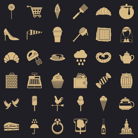 Patisserie icons set. Simple set of 36 patisserie vector icons for web for any design