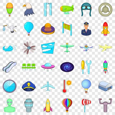 Flight icons set. Cartoon style of 36 flight vector icons for web for any design