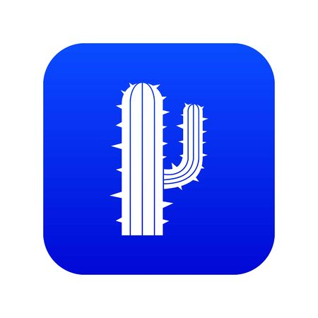 Mexican cactus icon digital blue for any design isolated on white vector illustration