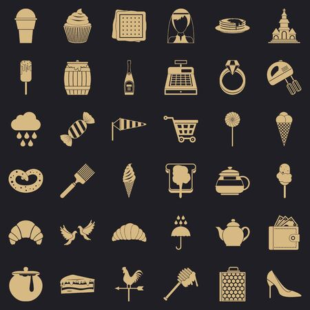 Pastry icons set. Simple set of 36 pastry vector icons for web for any design