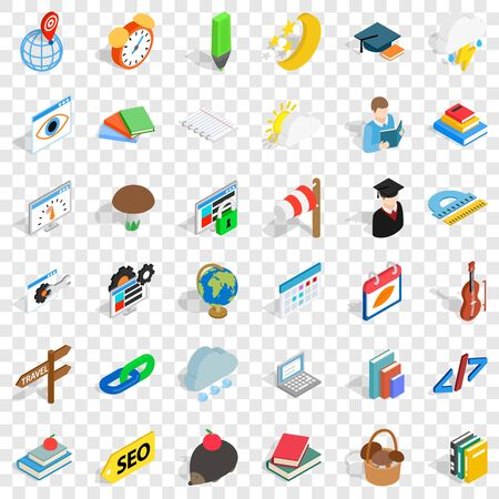 Nmber icons set. Isometric style of 36 number vector icons for web for any design Çizim