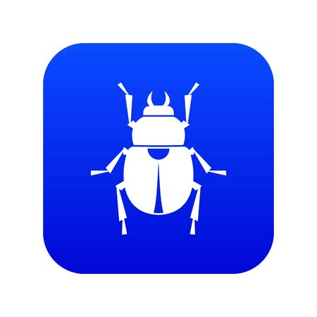 Scarab icon digital blue for any design isolated on white vector illustration