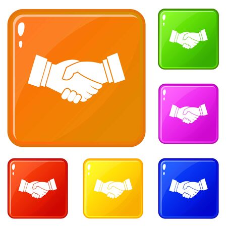 Handshake icons set collection vector 6 color isolated on white background