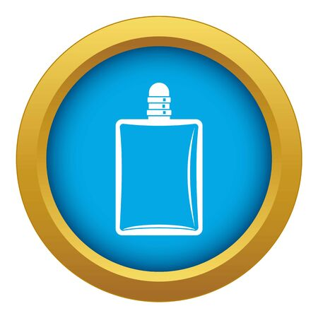 Bottle of female perfume icon blue vector isolated on white background for any design