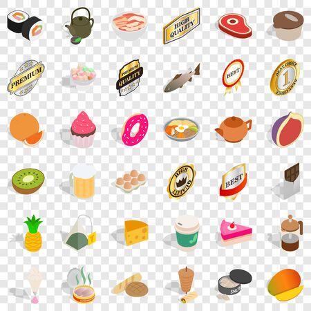 Calorie icons set, isometric style