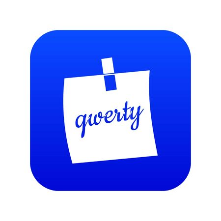 Paper sheet with text qwerty icon digital blue for any design isolated on white vector illustration Archivio Fotografico - 130245972