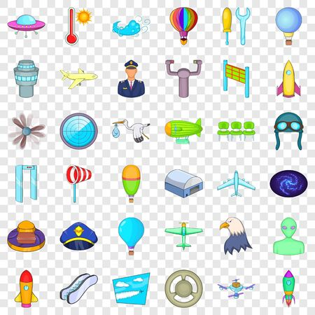 Airline icons set, cartoon style