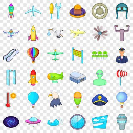 Aircraft icons set, cartoon style Ilustração