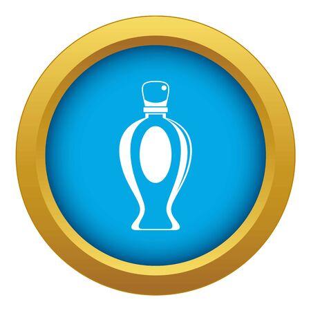 Perfume bottle icon blue vector isolated on white background for any design Çizim