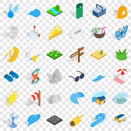 Weather forecast icons set, isometric style