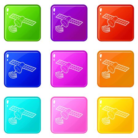 Space satellite icons set 9 color collection isolated on white for any design Иллюстрация