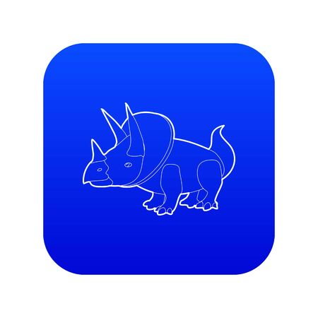 Triceratops icon blue vector