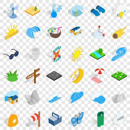 Surfing icons set, isometric style Illustration