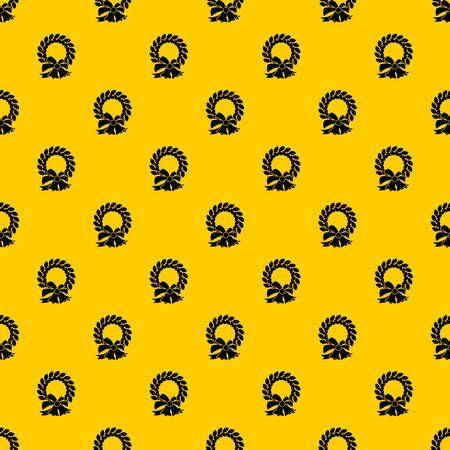 Merry Christmas wreath pattern seamless vector repeat geometric yellow for any design  イラスト・ベクター素材