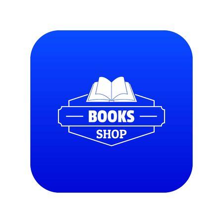 Book shop icon blue vector Vettoriali