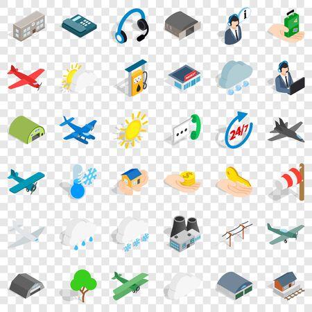 Wind icons set, isometric style