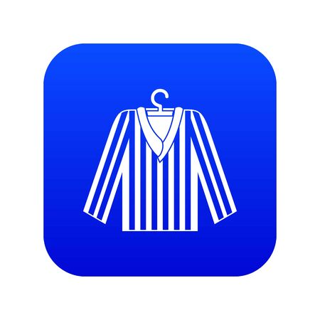 Striped pajama shirt icon digital blue for any design isolated on white vector illustration