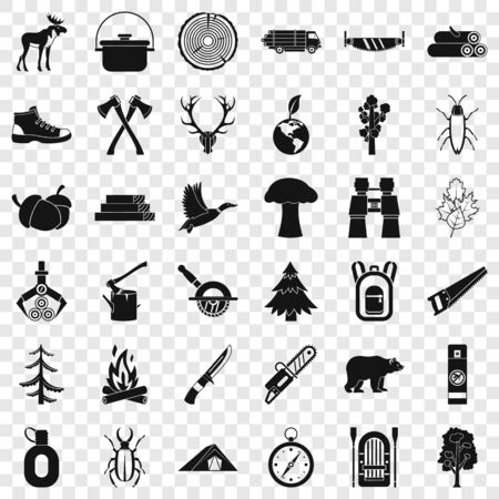 Outdoor icons set, simple style