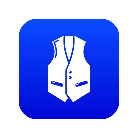 Waistcoat icon blue vector isolated on white background