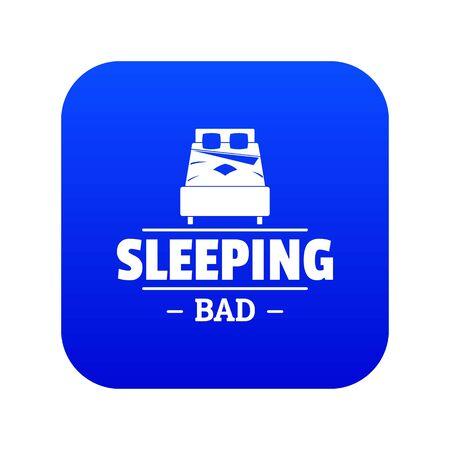 Sleeping bad icon blue vector