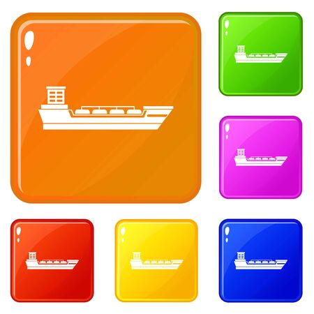 Oil tanker ship icons set collection vector 6 color isolated on white background