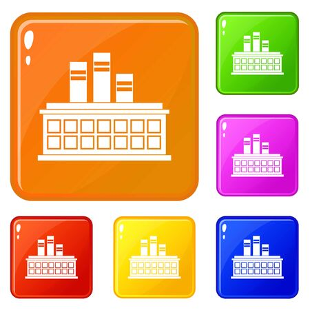 Oil refinery plant icons set vector color Illustration