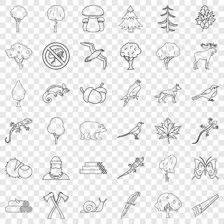 Forest hunting icons set, outline style