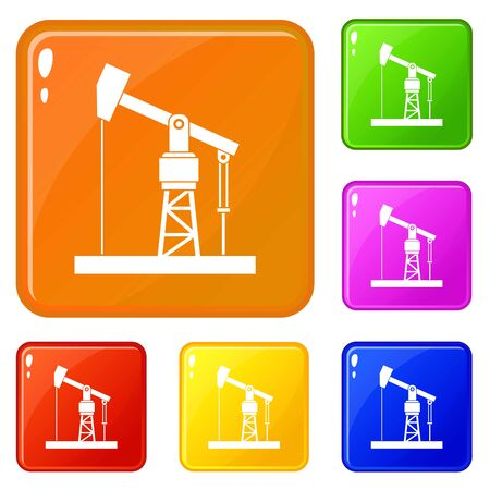 Oil pump icons set collection vector 6 color isolated on white background