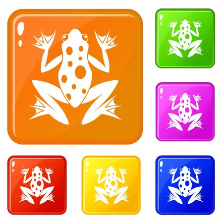Frog icons set vector color