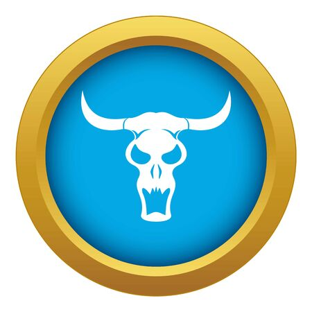 Buffalo skull icon blue vector isolated on white background for any design