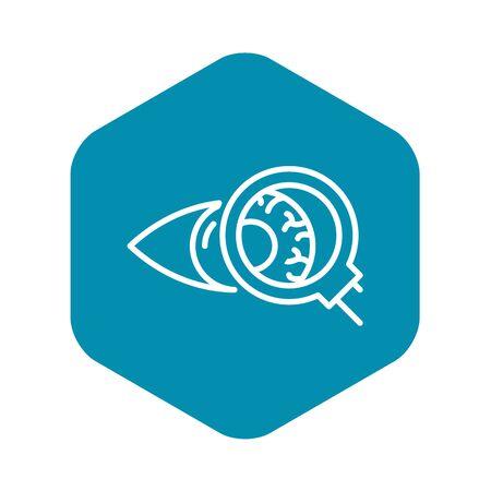 Eyeball inspection icon. Outline eyeball inspection vector icon for web design isolated on white background Çizim
