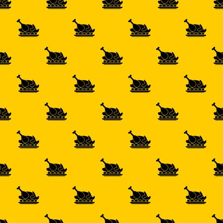 Roasted turkey pattern seamless vector repeat geometric yellow for any design