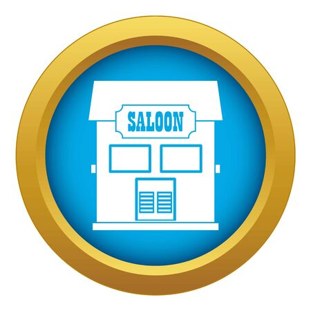 Western saloon icon blue vector isolated on white background for any design
