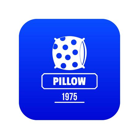 Pillow icon blue vector