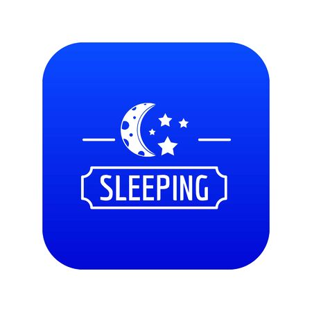 Sleeping moon icon blue vector