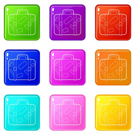Travel suitcase with stickers icons set 9 color collection