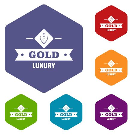 Jewelry gold icons vector hexahedron