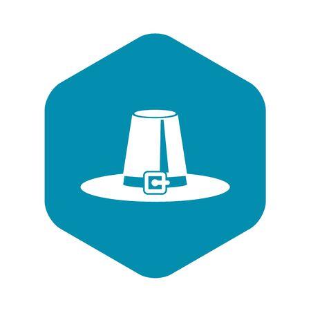 Pilgrim hat icon in simple style