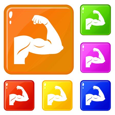 Biceps icons set collection vector 6 color isolated on white background Stock Illustratie