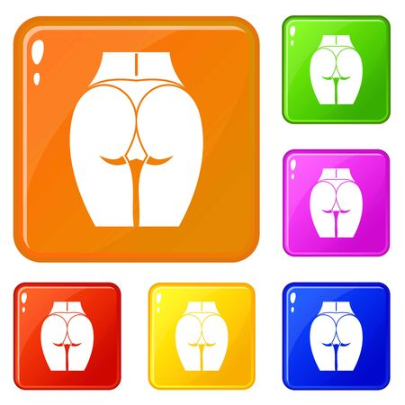 Buttocks of girl icons set vector color