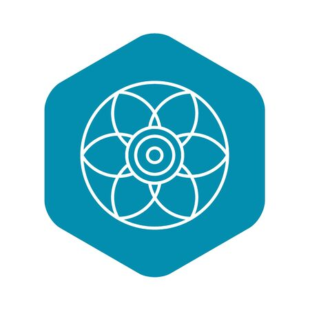Round flower biscuit icon, outline style Illustration